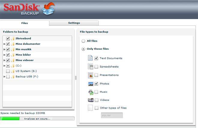 Man velger hvilke mapper og filer man vil ta backup av i et fint lite grensesnitt. (Ill. Teknologia.no)
