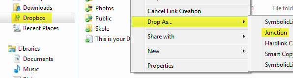 "Da er det bare å gå til Dropbox-mappen og velge ""Drop As - Junction"". (Ill. Teknologia.no)"