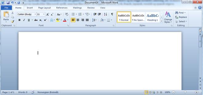 Slik ser Word ut i den nye Office-pakken. Last ned selv, og se hvordan den nye versjonen er! (Ill. Teknologia.no)