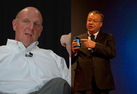 Microsoft-sjef bekrefter at de har kjøpt Nokia for 44 milliarder kroner. Til høyre er Nokia-sjef Stephen Elop. Foto: Flickr / orcmid, Wired Photostream