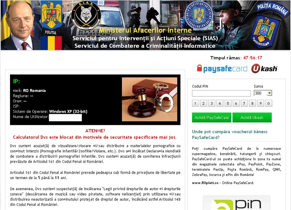 Her er et eksempel på ransomware. Programvaren utgir seg for å være fra politiet, mens det egentlig er personer med onde hensikter som står bak.
