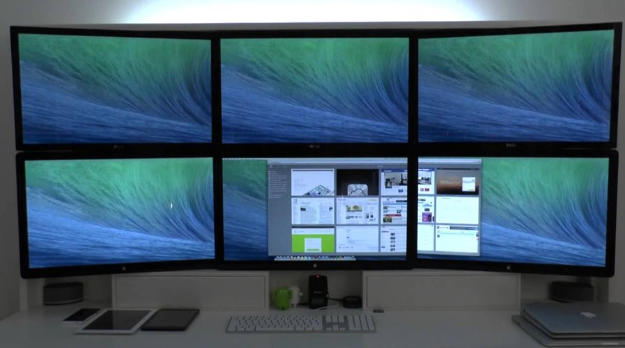 Seks skjermer på en Mac