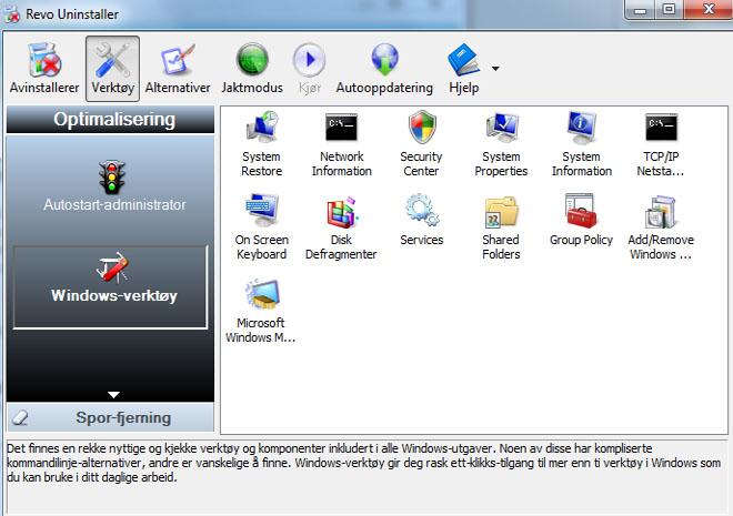 Gir deg også tilgang til Windows sine egne systemverktøy. (ill. Bitnett Teknologia)